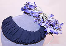 1940s Vintage Black Silk Grosgrain Ribbon Purple Violet Flower Fascinator Hat