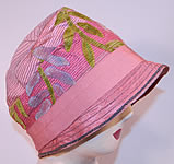 Vintage Art Deco Pink Silk Burnout Voided Velvet Floral Quilted Flapper Cloche Hat