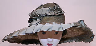 1920s Vintage Sage Green Straw Silk Ribbon Ruffle Trim Wide Brim Cloche Hat