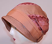 Vintage 1920s Art Deco Tango Pink Silk Ribbon & Woven Straw Flapper Cloche Hat