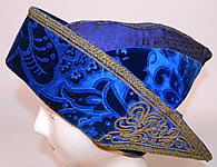 Vintage Hungary Regional Folk Costume Blue Burnout Voided Velvet Gold Trim Cap Archers Hat