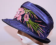 Vintage Periwinkle Silk Velvet Wide Brim Chenille Embroidered Flower Flapper Cloche Hat