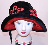 Vintage Black Velvet Red Soutache Embroidered Flower Flapper Cloche Hat