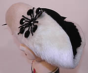 Vintage Leon Hats NY Label Black & White Felt Fur Jet Beaded Trim Tricorn Hat