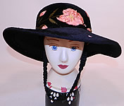 Edwardian Belle Epoque Black Plush Velvet Pink Silk Rosette Embroidered Wide Brim Hat