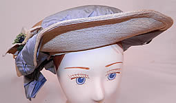 Victorian White Woven Straw Blue Silk Ribbon Floral Trim Wide Brim Gainsborough Hat