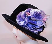 1920s Vintage Hart Hats Black Silk Velvet Wide Brim Purple Flower Flapper Cloche Hat