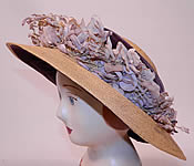 Edwardian Woven Natural Straw Purple Velvet Violet Flower Trim Wide Brim Hat