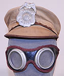 Vintage 1930s Childrens Juvenile Police Chief Toy Tin Badge Cap Hat & Motorcycle Goggles