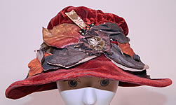 Vintage Autumn Burgundy Red Velvet Silver Lamé Leaf Trim Wide Brim Cloche Hat