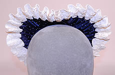 Vintage 1940s Navy Blue White Polka Dot Woven Straw Bow Heart Shape Fascinator Hat