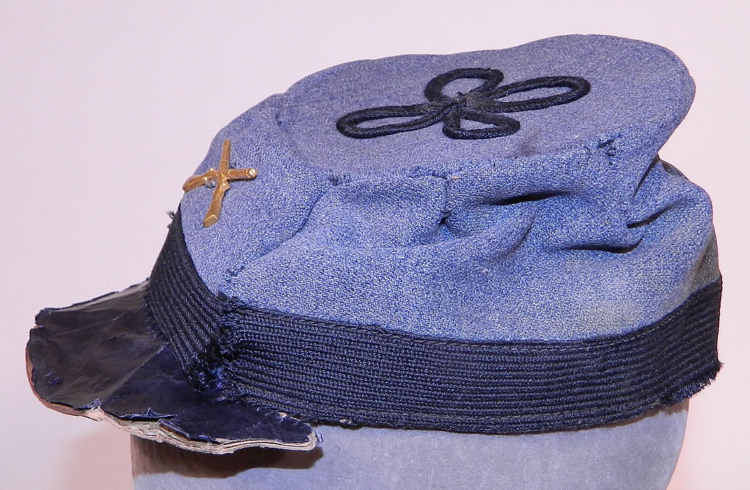 Vintage Repro Childs Civil War CSA Confederate Infantry Pin Gray Wool Kepi Cap Hat