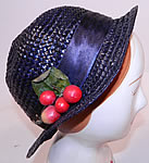 Vintage 1920s Navy Blue Woven Straw Red Cherry Silk Ribbon Bow Trim Childs Cloche Hat