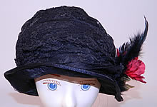 Vintage Black Woven Straw Silk Lace Red Flower Feather Trim Flapper Cloche Hat