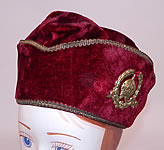 Vintage Fraternal Freemasonry Masonic Past Grand Master Red Velvet Gold Trim Cap Hat