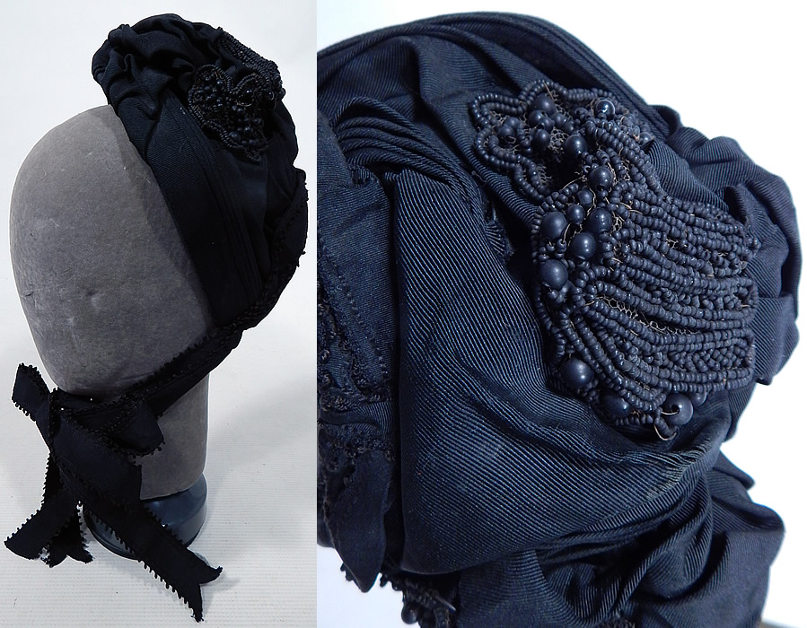 Victorian Black Silk Grosgrain Jet Beaded Trim Mourning Bonnet Hat