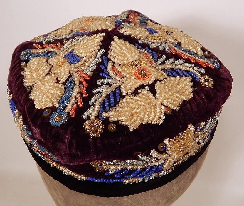 Antique Uzbek Beaded Velvet Victorian Smoking Cap Duppi