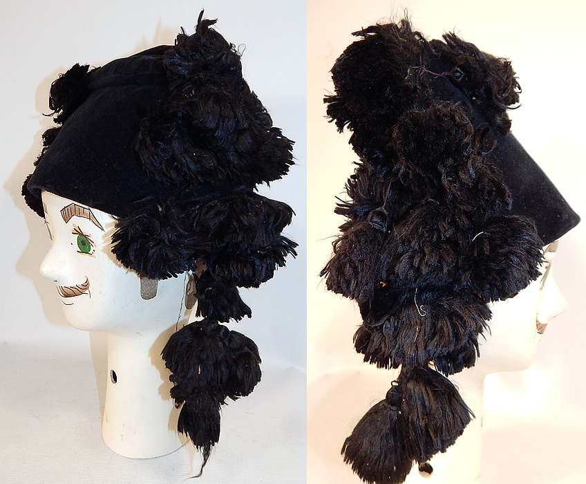 Vintage Black Velvet Silk Tassel Pompom Mens Bicorn Montera Matador Folk Costume  Hat