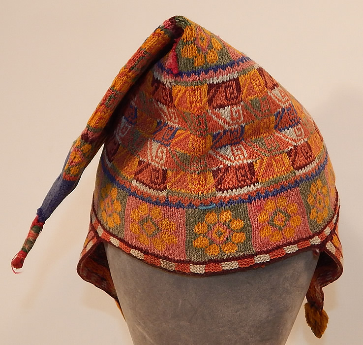 Vintage Andean Peruvian Bolivian Chullo Colorful Alpaca Wool Knit Earflap Folk Hat