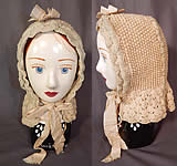 Victorian White Wool Hand Knit Nubby Crochet Winter Sled Carriage Bonnet