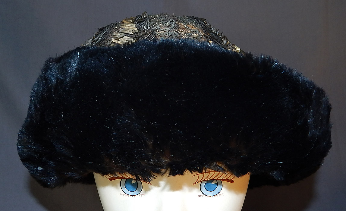 Titanic Edwardian Gold Lamé Lame Lace Beaded Fur Trim Toque Traveling Winter Hat