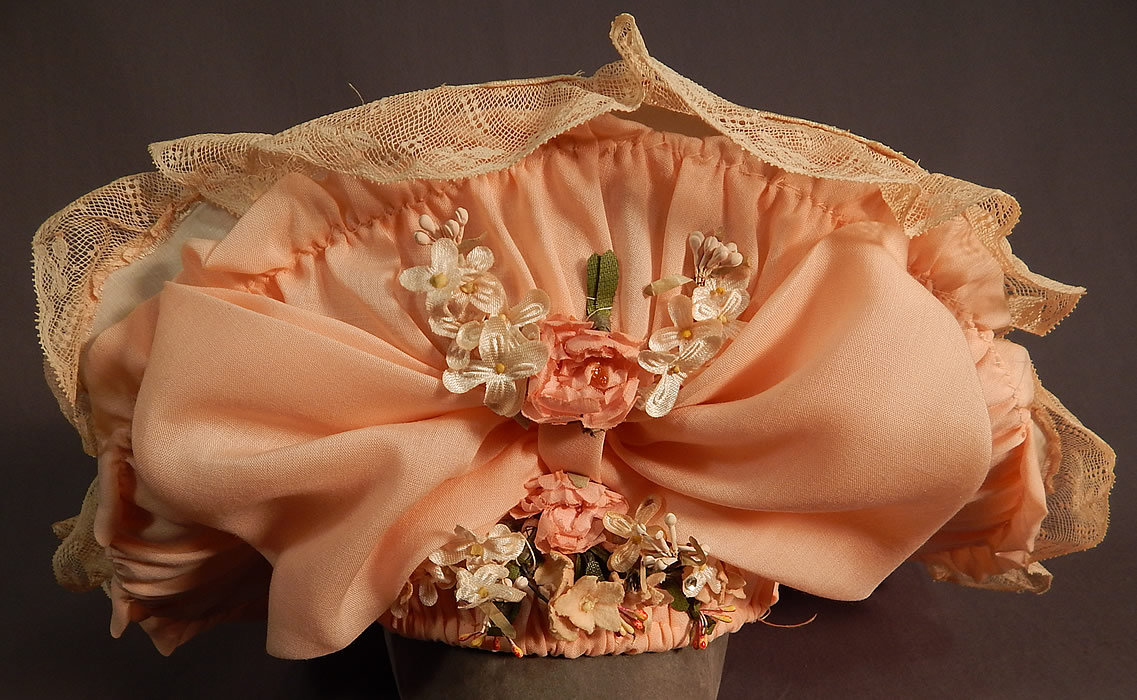 Victorian Style Ruth Stockley Society Silk Embroidery Floral Peach Bonnet Hat