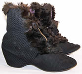 Victorian Black Silk Quilted Fur Trim Winter Carriage Boots