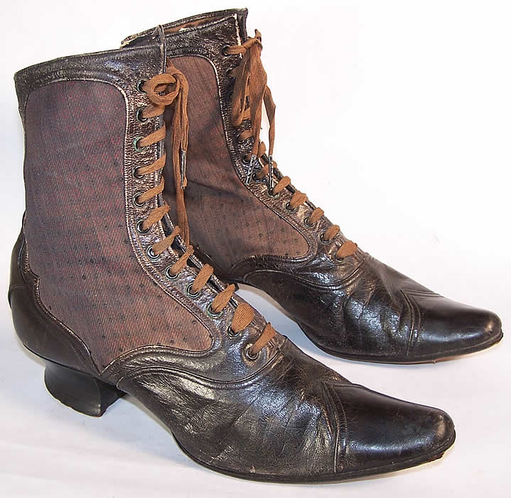 Victorian Red Silk Brocade Pointed Toe High Top Boots Side View.