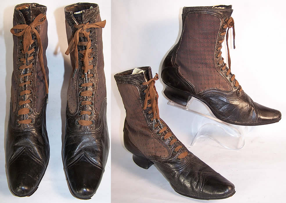 Victorian Red Silk Brocade Pointed Toe High Top Boots front & side view.