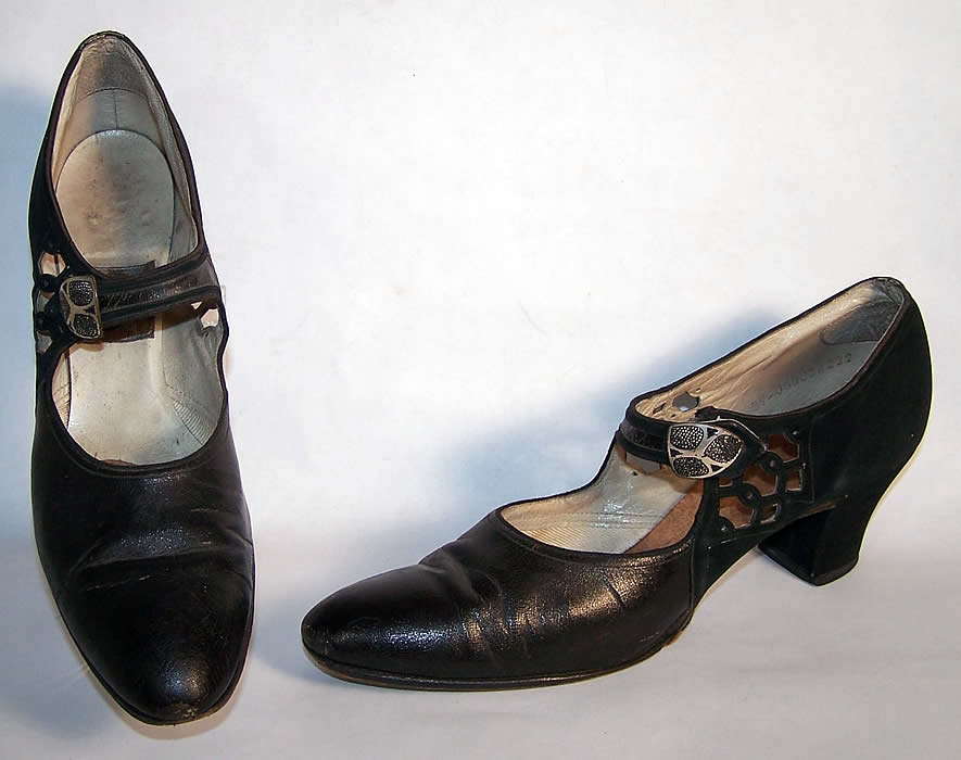 Art Deco Black Leather Silver Buckle Flapper Shoes  Front view.