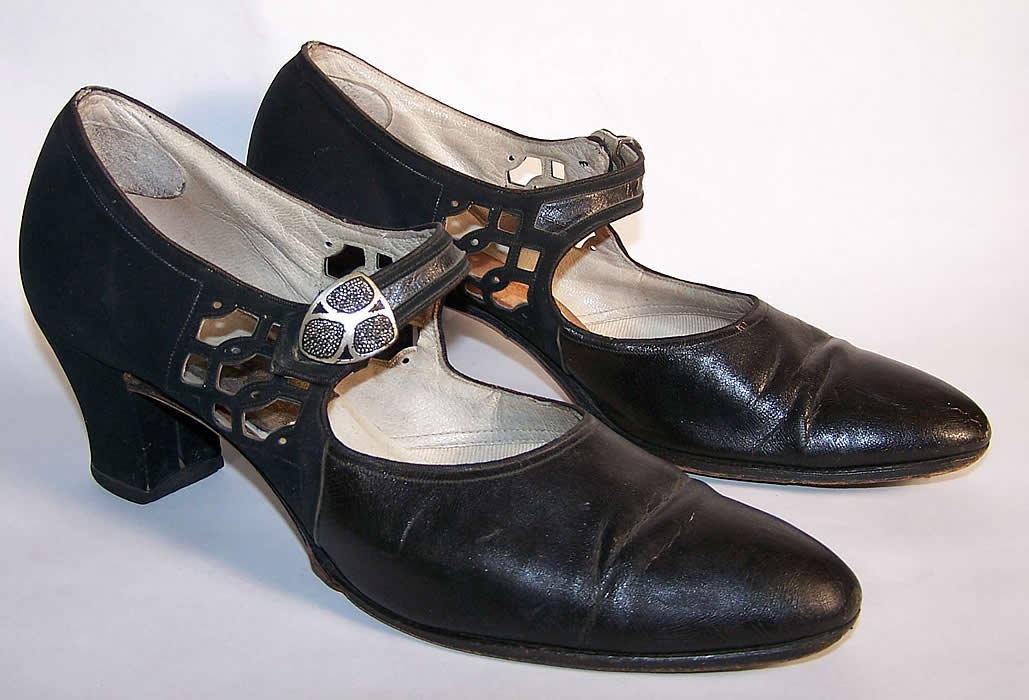 Art Deco Black Leather Silver Buckle Flapper Shoes Side View.
