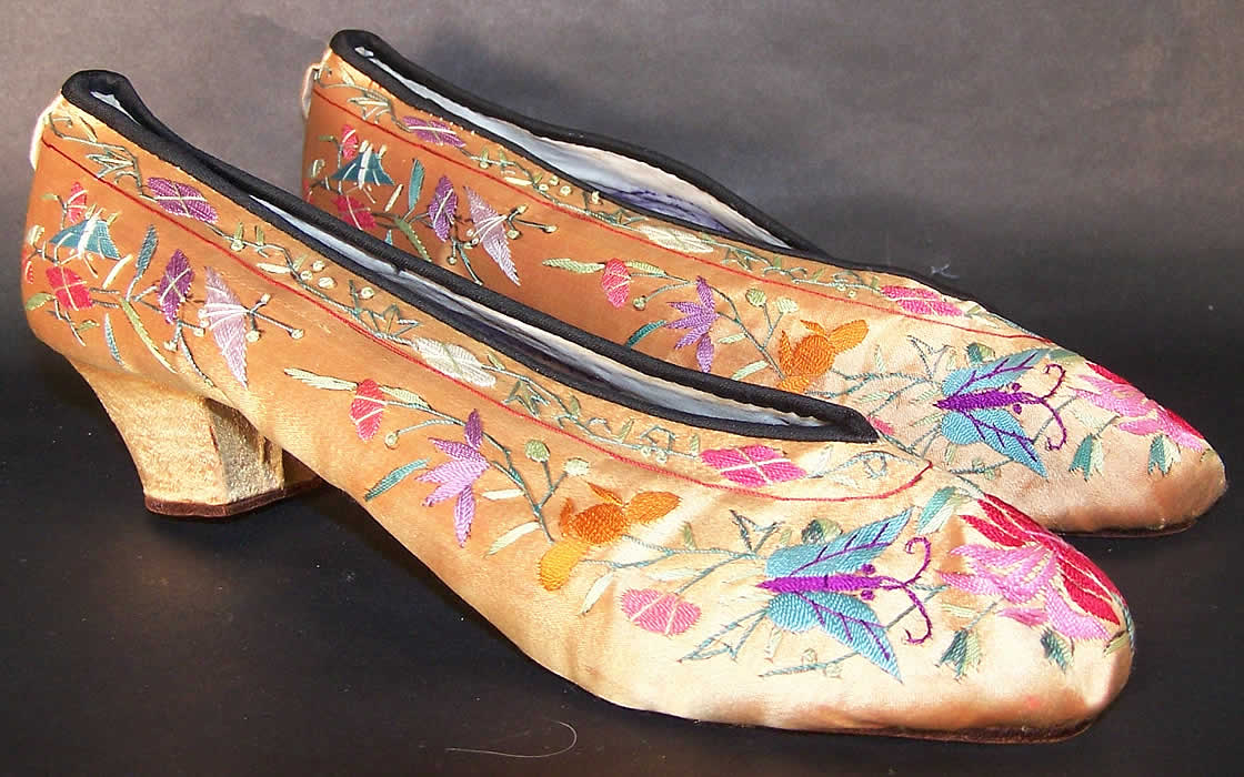Chinese Gold Silk Embroidered Butterfly Slipper Shoes  Side View.