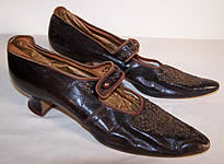 Edwardian Bronze Beaded Button Strap Mary Jane Shoes