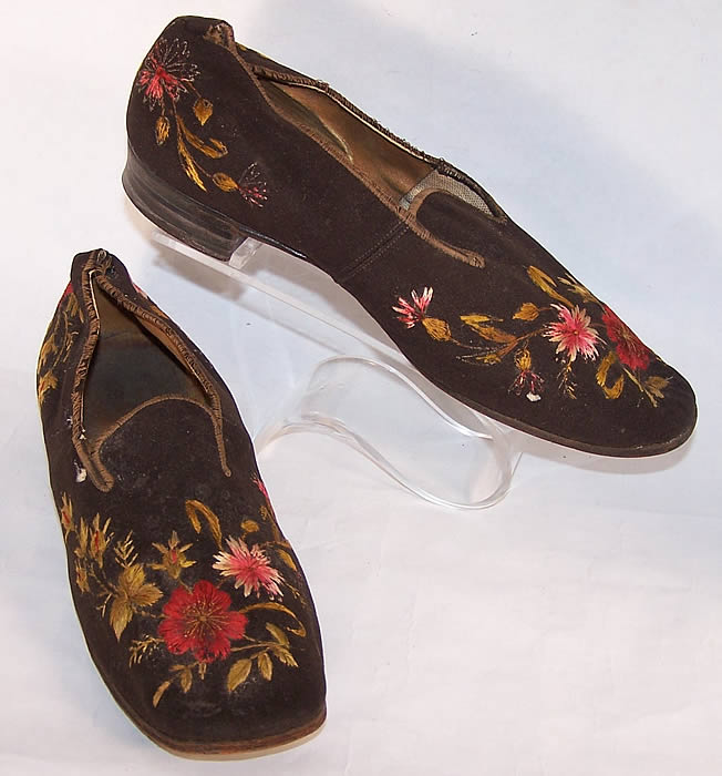 Victorian Gentlemen's Brown Wool Embroidered Slipper Shoes  side view.