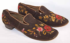 Victorian Gentlemen's Brown Wool Embroidered Slipper Shoes
