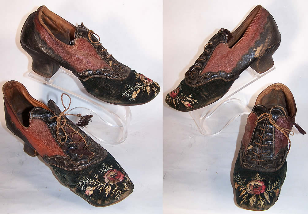 Victorian Red Amp Black Embroidered Velvet Leather Shoes