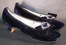 Hellstern Paris Label Victorian Velvet Steel Cut Buckle Straight Sole Shoes