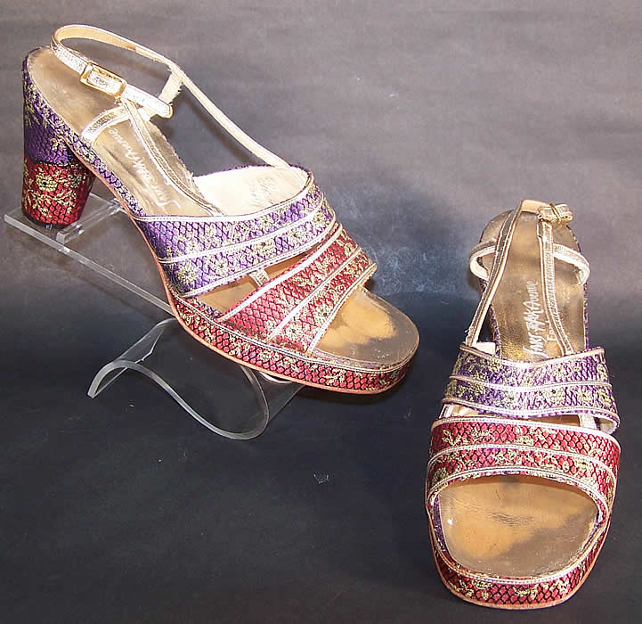1970s Vintage Saks Fifth Ave Fenton Last Silk Brocade Gold Lamé Sandal Shoes sz 6
