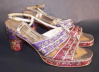 Vintage Saks Fifth Ave Silk Lamé Sandal Shoes