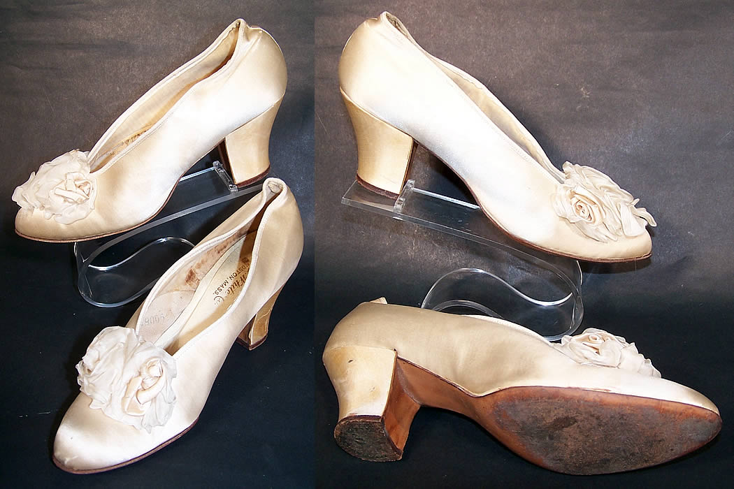Edwardian White Silk Satin Ribbon Rosette Bridal Wedding Shoes