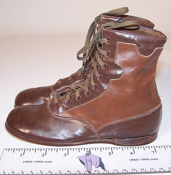 Unworn Edwardian Two Tone Brown Leather High Top Lace-up Youth Boots  side view.