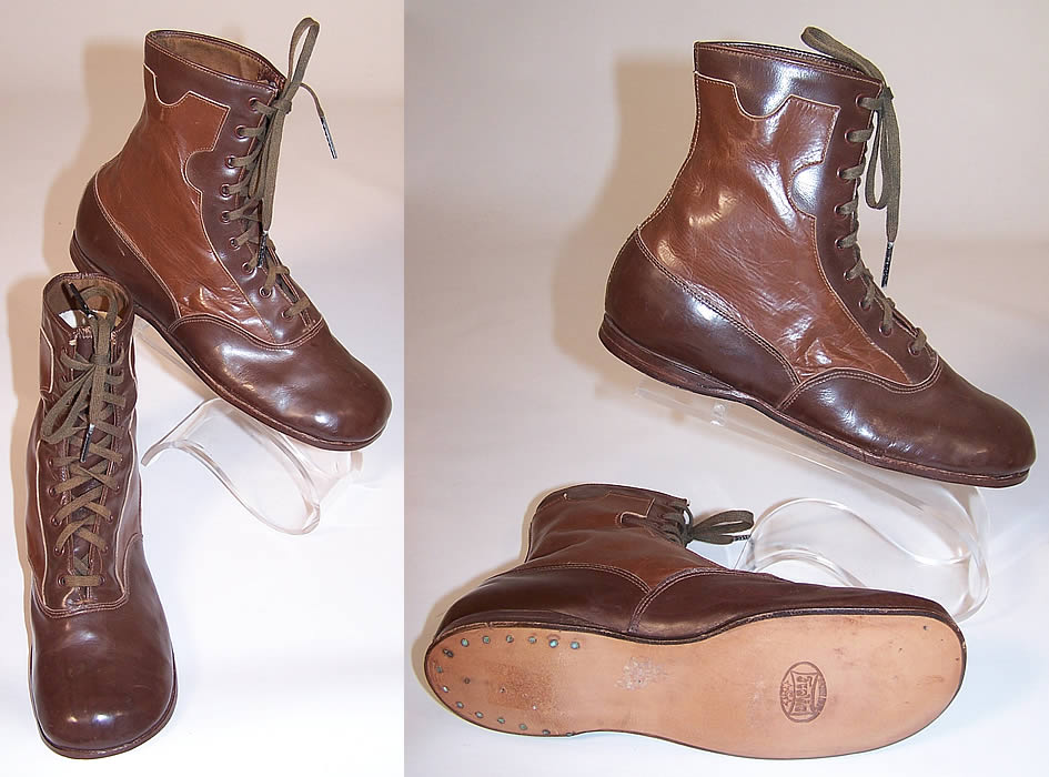 Unworn Edwardian Two Tone Brown Leather High Top Lace-up Youth Boots two views right shows the sole
