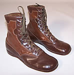 Unworn Two Tone Brown Leather High Top Lace-up Youth Boots