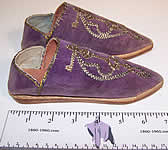 Moroccon Cherbil Gold Embroidery Purple Velvet Slipper Shoes