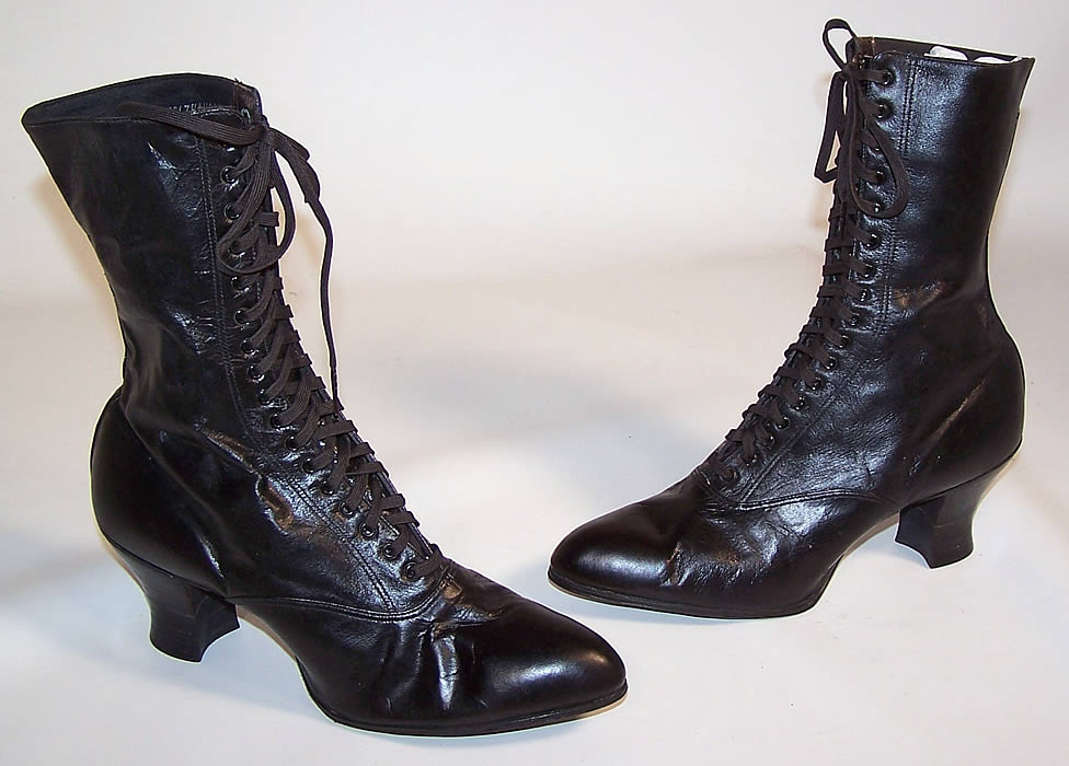 unworn s vintage black leather high top