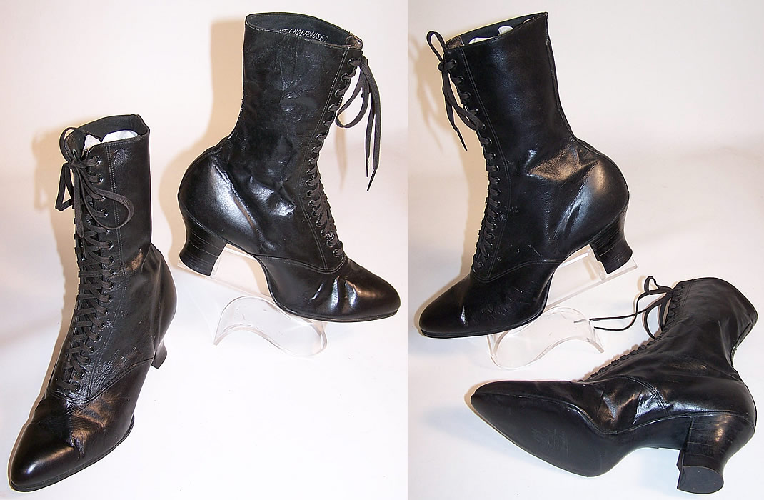 Unworn Women S Vintage Victorian Black Leather High Top