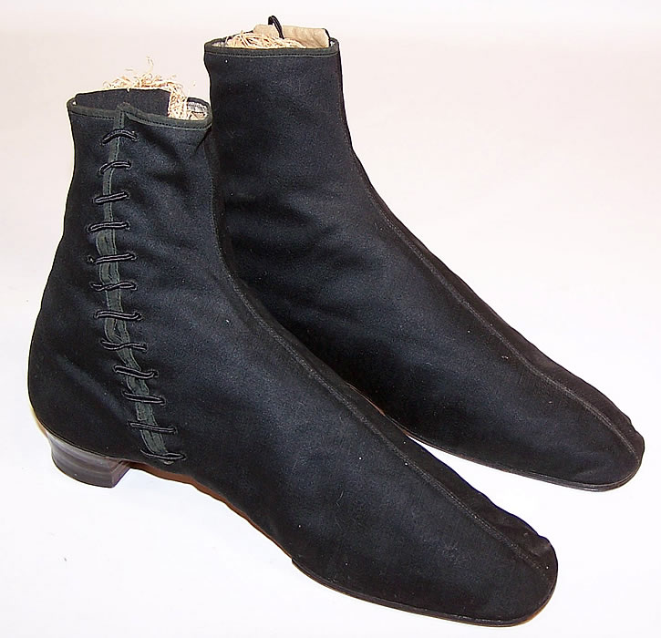 Victorian Black Wool Crooked Sole Side Lacing Dainty Ankle Half Boots