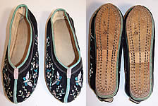 Antique Chinese Black Velvet Embroidered Butterfly Bird Slipper Shoes