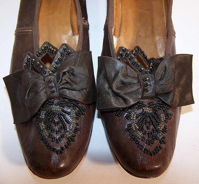 Victorian Civil War Era Brown Leather Beaded Bow Louis Heel Shoes close up.
