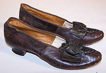 Victorian Civil War Era Brown Leather Beaded Bow French Louis Heel Shoes